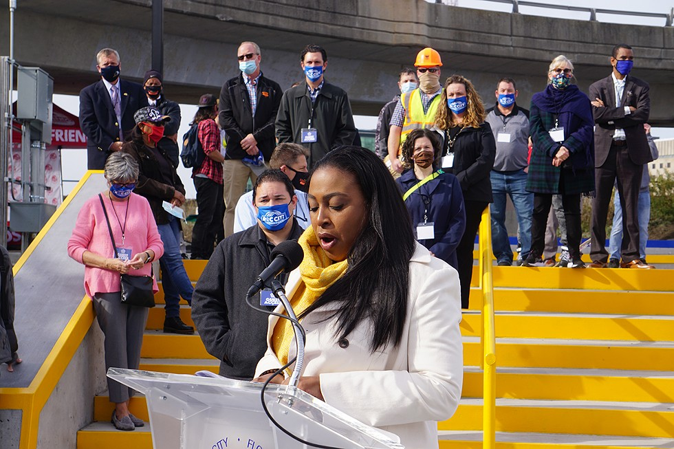 Mayor Lovely Warren, speaking at the ribbon-cutting of the Roc City Skatepark on Thursday, Nov. 5. - PHOTO BY GINO FANELLI