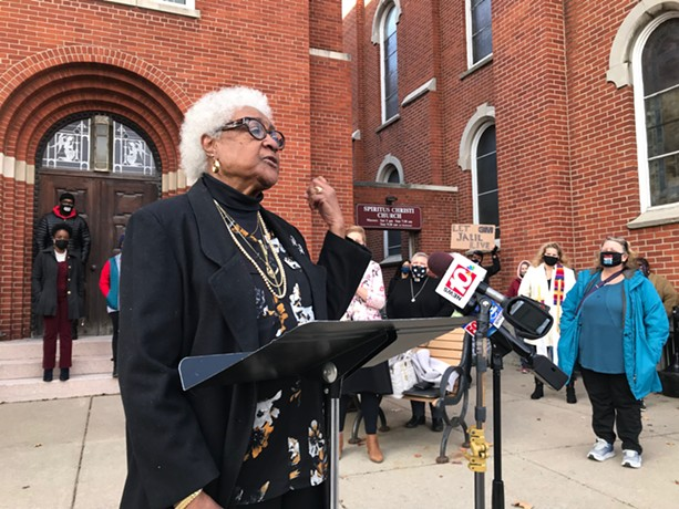 Billie Bottom Brown, 85, the mother of Jalil Abdul Muntaqim, aka Anthony Bottom, speaks outside of Spiritus Christi Church on behalf of her son on Nov. 12, 2020. - PHOTO BY DAVID ANDREATTA