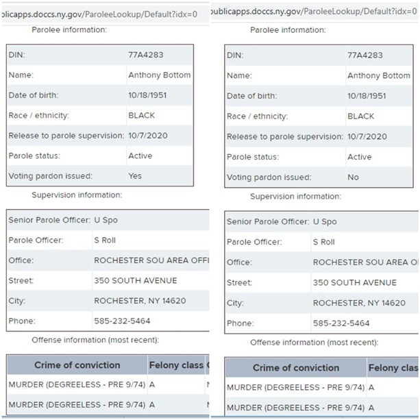 """Screenshots of the state Department of Corrections and Community Supervision's """"Parolee Lookup"""" page for Jalil Muntaqim, aka Anthony Bottom. The shot on the left was taken Nov. 23 and shows that his voting rights have been restored. On Nov. 24, right, the agency modified his voting rights status."""