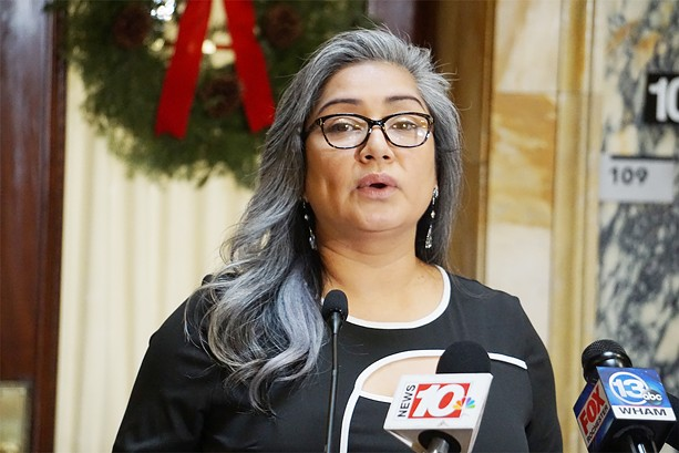 Democratic Elections Commissioner Jackie Ortiz, at a news conference on Thursday, Dec. 10. - PHOTO BY GINO FANELLI