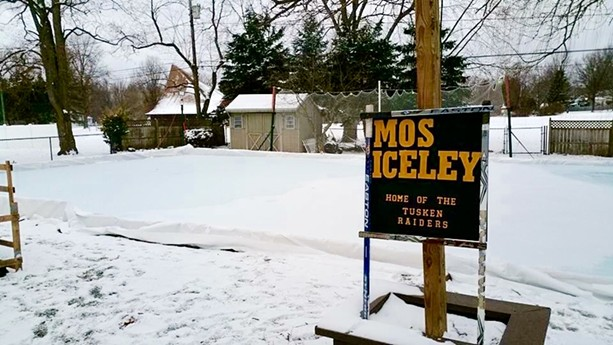 """""""Mos Iceley,"""" the backyard rink of Joseph Climek and Melody King in Webster. - PHOTO COURTESY OF JOSEPH CLIMEK AND MELODY KING"""