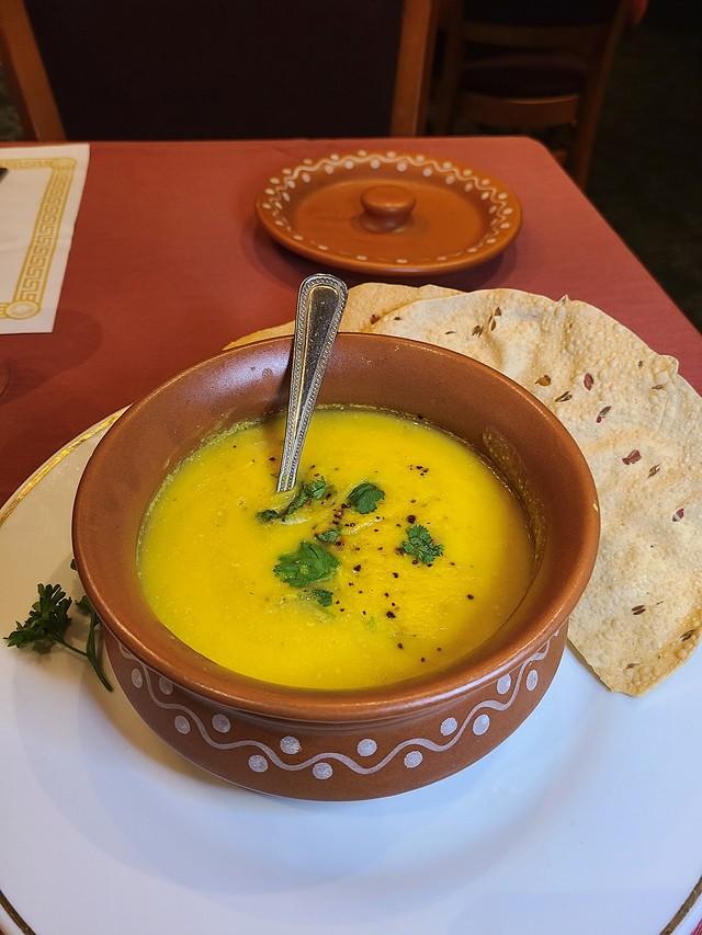 Amaya Indian Cuisine's Mulligatawny Soup. - PHOTO BY VINCE PRESS