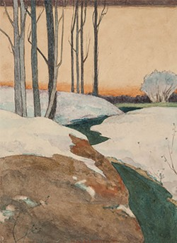A winter landscape watercolor by Rochester artist M. Louise Stowell, who lived in Corn Hill in the early 20th century. - PHOTO COURTESY THE MEMORIAL ART GALLERY