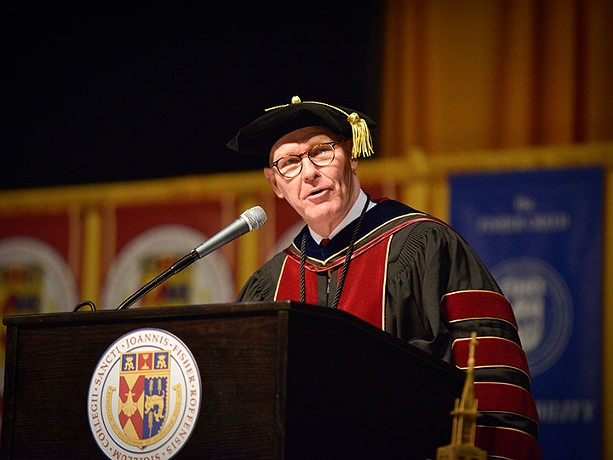 St. John Fisher College President Gerard Rooney addressing students at commencement. - PHOTO PROVIDED BY ST. JOHN FISHER