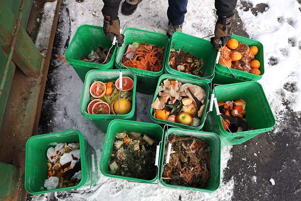 Food scraps collected from households enrolled in the curbside pick-up program at Impact Earth. The was will be recycled into compost. - PHOTO BY MAX SCHULTE