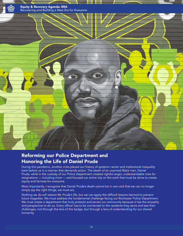 """Arts advocates say this page from Mayor Lovely Warren's """"Equity and Recovery Agenda"""" booklet misrepresents the mural of Daniel Prude by R(evolutionary) Beats artists Estee Cheng and Nikko Quiñones, and Project AIR collaborators Jessica Cheng and Alexa Guzman. - PHOTO PROVIDED BY CITY OF ROCHESTER"""