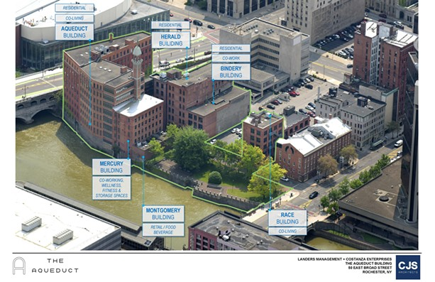 The site of a planned remote work hub development along the Genesee River in downtown Rochester is scheduled to be completed in 2022. - PHOTO PROVIDED