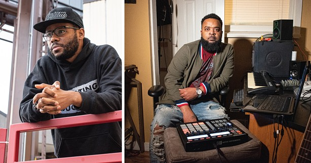 """BrandonEv White (left), aka Bushido Garvey, was one of several Rochester rappers to appear on """"Negus Don't Bow,"""" produced by Cello Brown. - PHOTOS BY JACOB WALSH"""