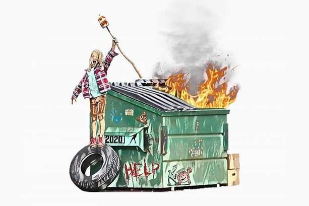 "Rochester-based artist Aaron Humby captured the making-the-most-of-it mood of 2020 with his digital illustration, titled ""When Life Gives You a Dumpster Fire, Roast Marshmallows."" - PHOTO PROVIDED"