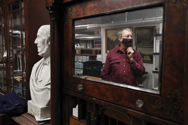 A bust of Abelard Reynolds, the architect of the Reynolds Arcade building downtown and Rochester's first postmaster, is in the collection of the Rochester Historical Society. - PHOTO BY MAX SCHULTE