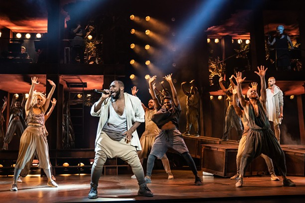 "Erica A. Lewis as Simon and the company of the North American Tour of ""Jesus Christ Superstar"" performing at the Auditorium Theatre. - PHOTO BY MATTHEW MURPHY"