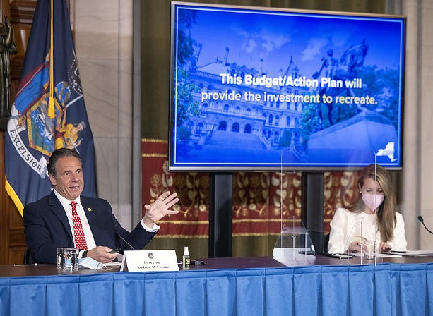 Governor Cuomo commented on the state budget Wednesday. His chief of staff, Melissa DeRosa, is to the right. - PHOTO PROVIDED BY GOV. ANDREW CUOMO'S OFFICE
