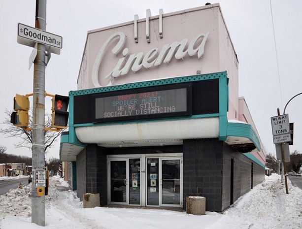 The Cinema Theater at the corner of South Clinton Avenue and Goodman Street in Rochester in early 2021. - PHOTO BY MAX SCHULTE / WXXI NEWS