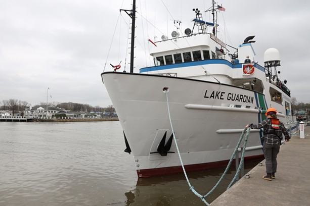 At 180 feet long, the Lake Guardian is the U.S. Environmental Protection Agency's largest research vessel on the Great Lakes. - PHOTO BY MAX SCHULTE