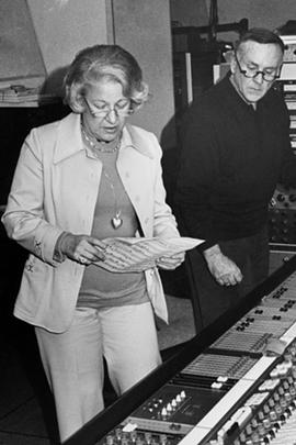 Ethel Gabriel at the soundboard with RCA recording engineer Bob Simpson. - PHOTO PROVIDED BY CAROLINE LOSNECK AND CHRISTOPH GELFAND