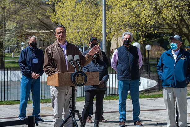 Gov. Andrew Cuomo appeared Monday at the state fairgrounds in Syracuse, where he took in-person questions from reporters for the first time in months. - PHOTO PROVIDED BY THE OFFICE OF GOV. ANDREW CUOMO