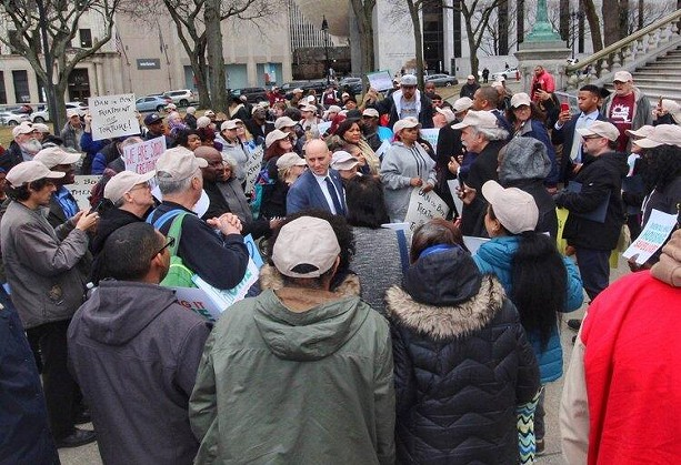Demonstrators with NYAPRS gather in Albany for a Legislation Day rally. - PHOTO BY NOELLE E. C. EVANS