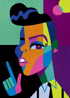 DAvid Cowles's portrait of Janelle Monáe. - ARTWORK BY DAVID COWLES