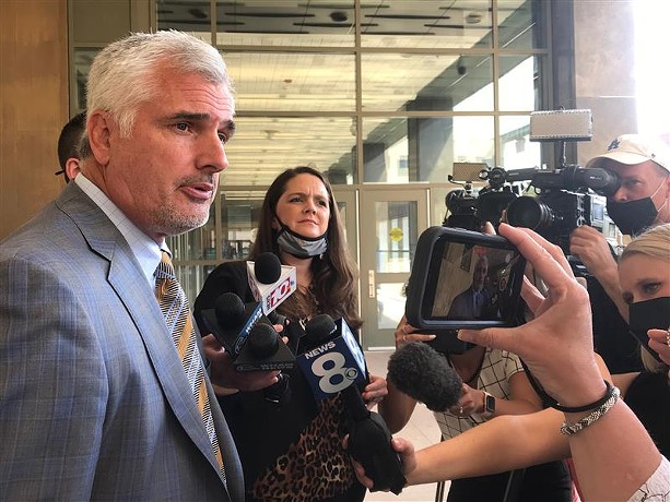 John DeMarco, the defense attorney for Timothy Granison, speaks to reporters outside Rochester City Court following Granison's arraignment on May 20, 2021. - PHOTO BY MAX SCHULTE