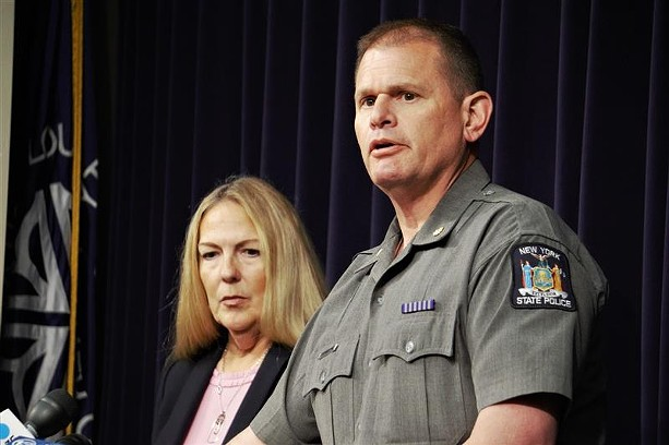 Monroe County District Attorney and State Police Major Barry Chase describe the charges brought against Timothy Granison and others on May 20, 2021. - PHOTO BY GINO FANELLI