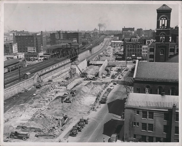 The Inner Loop under construction, circa 1960. - PHOTO COURTESY OF THE LOCAL HISTORY & GENEOLOGY DIVISION, ROCHESTER PUBLIC LIBRARY