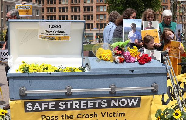Families for Safe Streets is travelling across New York and at stops is urging lawmakers to take action on a package of bills its says will offer New Yorkers greater protection from traffic-related injuries and fatalities. - PHOTO BY MAX SCHULTE