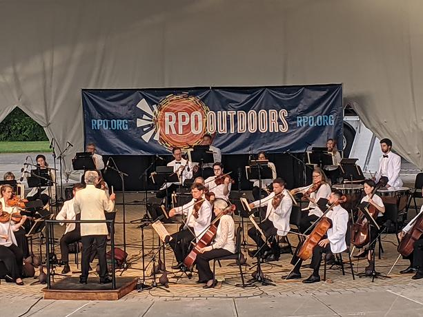 """The RPO and its music director designate Andreas Delfs at the first of  """"RPO Outdoors"""" concerts on Thursday, June 3, 2021. - PHOTO BY DANIEL J. KUSHNER"""