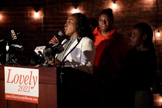 Mayor Lovely Warren concedes defeat in the Democratic primary to supporters at The Sidebar on South Avenue on June 22, 2021. - PHOTO BY MAX SCHULTE