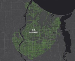 A map of Irondequoit produced by Reconnect Rochester showing how far someone can get by bike in 20 minutes. - IMAGE PROVIDED BY RECONNECT ROCHESTER