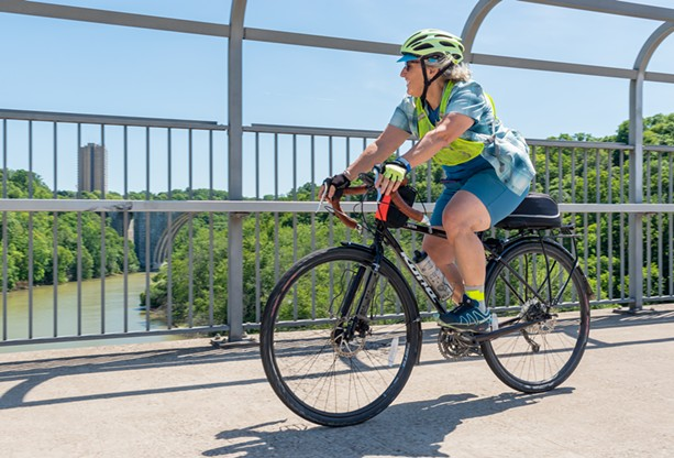 """Pam Rogers of Irondequoit stresses that cycling is """"not just for men in Lycra."""" - PHOTO BY JACOB WALSH"""