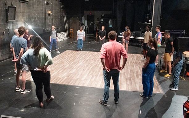 """The cast of """"The Tempest,"""" which runs from July 9 through 25 at the Highland Bowl, begins a rehearsal. - PHOTO BY JACOB WALSH"""