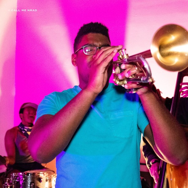 Trumpeter Oliver Haynes performing during a recent Monday jazz session at UUU Art Collective. - PHOTO BY NARADA J. RILEY