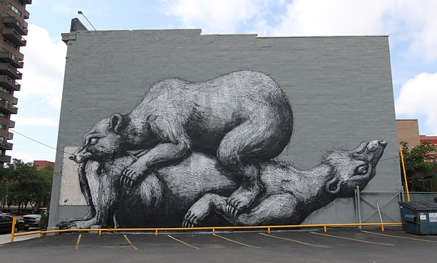 """ROA's mural, """"Sleeping Bears,"""" shortly after completion in 2012. - PHOTO COURTESY WALL/THERAPY"""