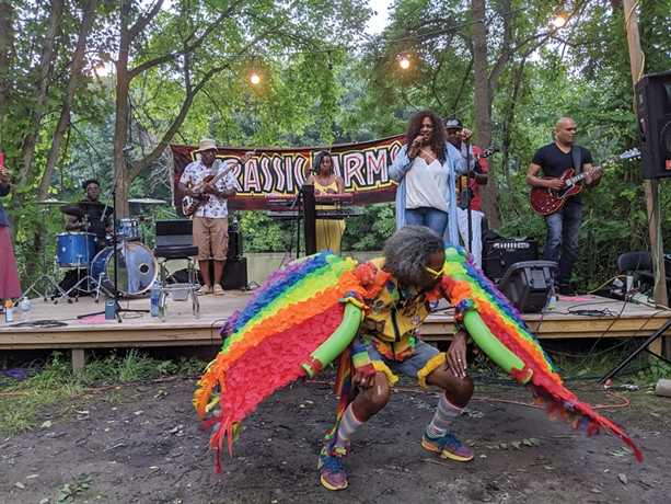 """Carlos Merriweather dances as keyboardist Avis Reese, vocalist Syliva MacCalla, and band perform as part of """"SOULSCAPE II"""" at Jurassic Farms. - PHOTO BY DANIEL J. KUSHNER"""
