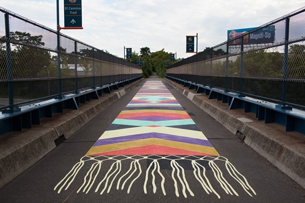 Baltimore-based artists Jessie and Katey's 2013 painted rug on the El Camino Trail. - FILE PHOTO