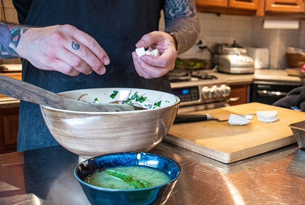 The author prepares the variety of chilled soups described below. - PHOTO BY JACOB WALSH