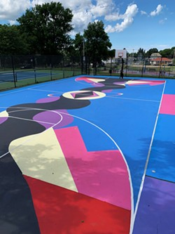 The Carter Street R-Center basketball court, painted by the Peculiar Asphalt team in 2019. - PHOTO BY BRITTANY WILLIAMS