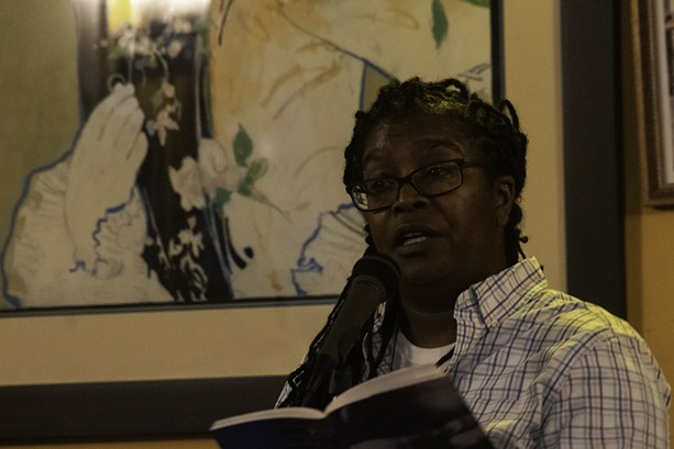 """Poet Letta Neely presents """"Geographoes of Power"""" at Java's Cafe on Sept. 20, 2021, as part of the KeyBank Rochester Fringe Festival. - PHOTO BY ASHLEIGH DESKINS"""