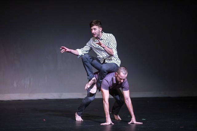 "Darren Stevenson and Ashley Jones of PUSH Physical Theatre perform ""Generic Male"" at JCC CenterStage Theatre on Sept. 23, 2021 as part of Rochester Fringe Festival. - PHOTO BY MATT BURKHARTT"