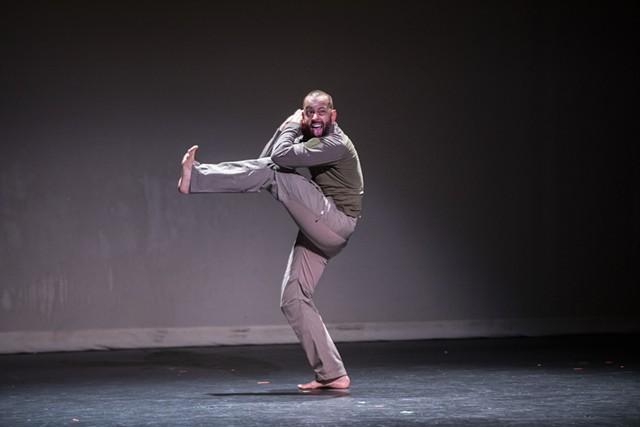 "PUSH Physical Theatre's Darren Stevenson portrays his son in ""Generic Male"" at JCC CenterStage Theatre on Sept. 23, 2021, as part of Rochester Fringe Festival. - PHOTO BY MATT BURKHARTT"