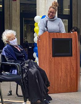 Dr. Alice Holloway Young, left, and Rochester City School District Superintendent Lesli Myers-Small appear at Wednesday's renaming of School 3 in Young's honor. - PHOTO BY RACQUEL STEPHEN / WXXI NEWS