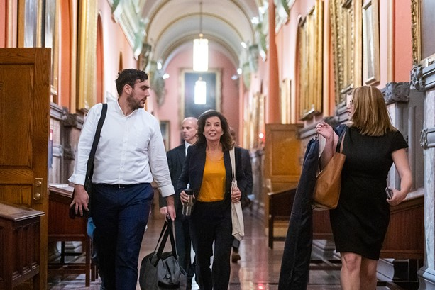 Kathy Hochul arrives at the New York State Capitol to address the public on Aug. 11, 2021, one day after former Gov. Andrew Cuomo announced he was resigning. - PHOTO PROVIDED BY THE OFFICE OF GOV. KATHY HOCHUL