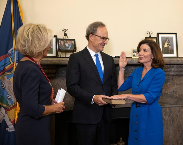 Kathy Hochul at her initial swearing-in ceremony on Aug. 24, as she became New York's 57th Governor. - PHOTO COURTESY MIKE GROLL / OFFICE OF GOVERNOR KATHY HOCHUL