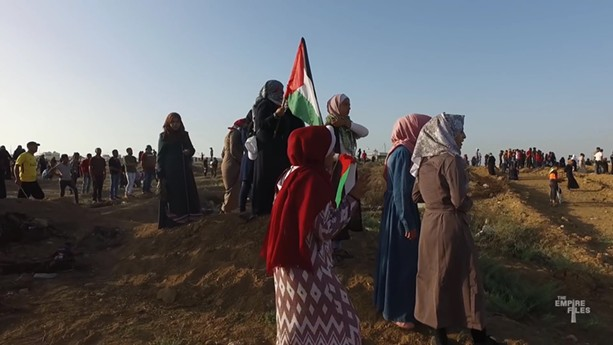 """A screenshot from the documentary film """"Gaza Fights for Freedom."""" - PHOTO PROVIDED"""