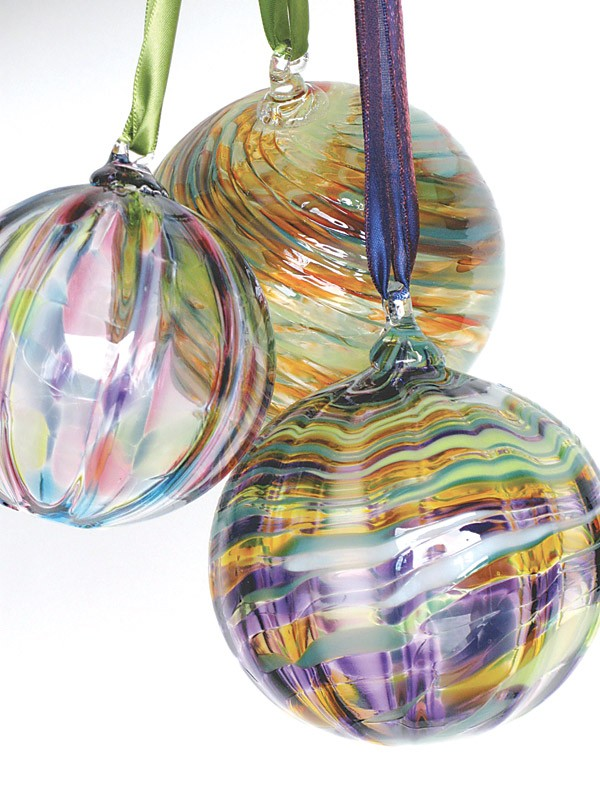 Ornate glass ornaments from More Fire Glass Studio. - PHOTO PROVIDED