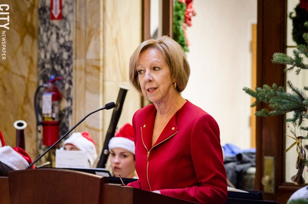 Brooks speaks during this year's Christmas tree-lighting ceremony. - PHOTO BY MARK CHAMBERLIN