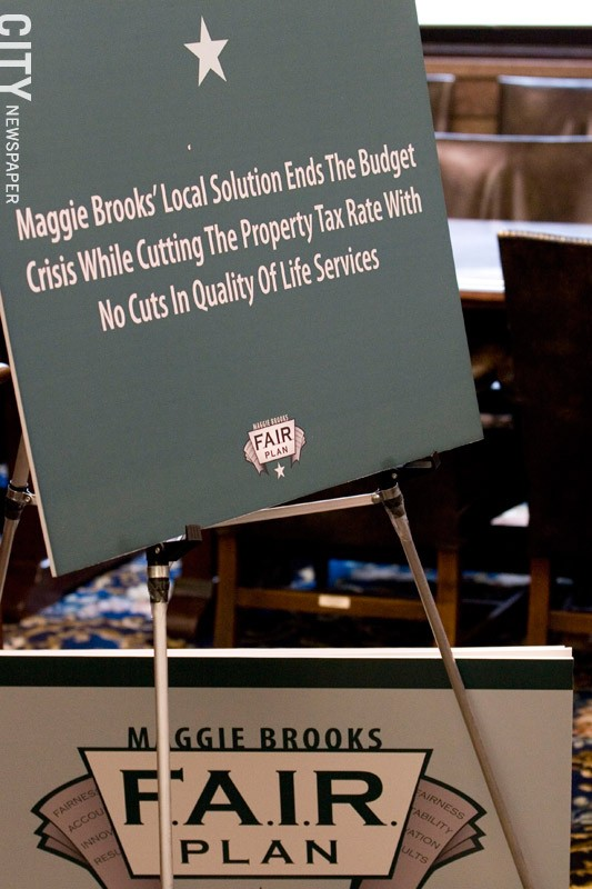 A display board from a Brooks budget presentation. - FILE PHOTO