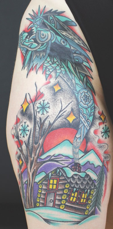 Adam Francey's winter cabin tattoo on Renée Heininger - PHOTO PROVIDED