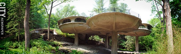 Marrying nature and concrete: Johnson's organic pods known as the Mushroom House. - FILE PHOTO