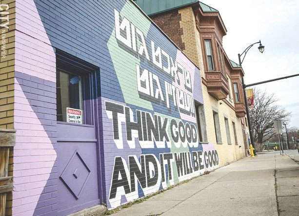The 19th Ward Mural Project is in both English and Hebrew. - PHOTO BY MARK CHAMBERLIN